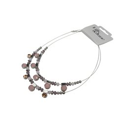 Collier roze tonen rhodium finish