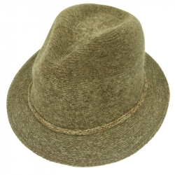 Hat wool 57cm rope light brown
