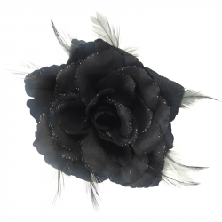 Elastic broche rose feathers greytinten