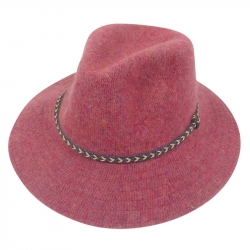 Hat wool 57cm braided strap old pink