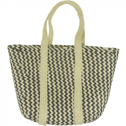 Beach Bag Wicker Zigzag Navy/Ivory