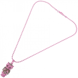 Kindercollier Lichtroze Uil Strass