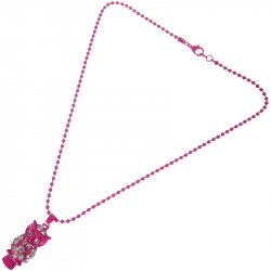 Kindercollier Fuchsia Uil Strass