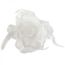Duck clip broche elastic rose feathers 12cm white