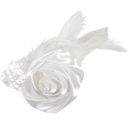 Duck clip/brooch rose feathers white