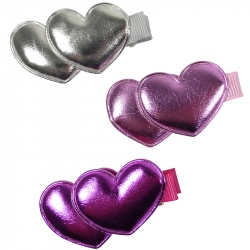 Duck clip 4.5cm metallic hearts