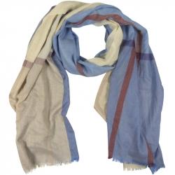 Sjaal 100% Viscose Strepen 80x195cm Blauw/Beige