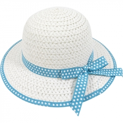 Children's hat straw dots 54cm turquoise