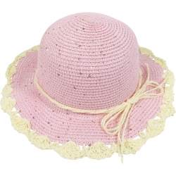 Children's hat sequins and raffia 54cm light pink
