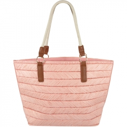 Beach Bag Straw Zig Zag Pink