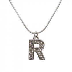 "Letter necklace ""R"" stones"