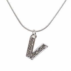 "Letter necklace ""V"" stones"