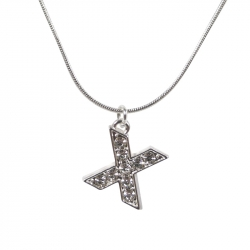 "Letter necklace ""X"" stones"
