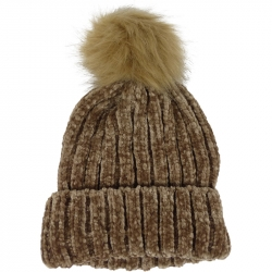 Chenille Pompom Hat Brown