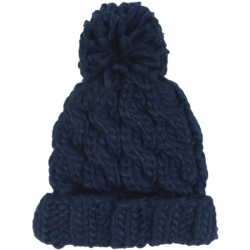 Pompom Hat Thick Knit Black