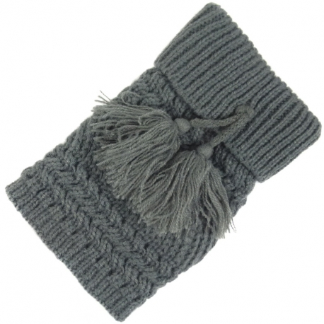 Leg Warmers Knitted Tassels Grey