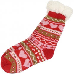 Winter Socks Nordic Hearts Red
