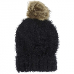 Pompom Hat Soft Knit Black