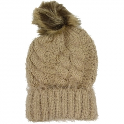 Pompom Hat Soft Knit Camel