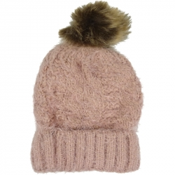 Pompom Hat Soft Knit Pink
