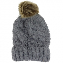 Pompom Hat Soft Knit Grey