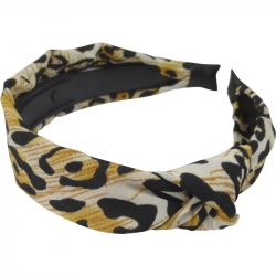 Aliceband 2.0cm Animal Print Knot Ochre