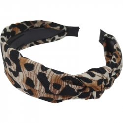 Aliceband 2.0cm Animal Print Knot Brown
