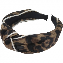 Aliceband 4.0cm Animal Print White Trim Knot Dark Brown