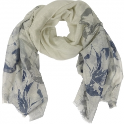 Scarf Lurex Flowers 90x180cm Blue