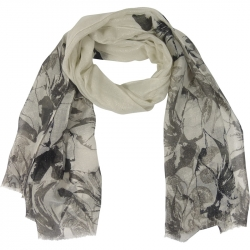 Scarf Lurex Flowers 90x180cm Grey