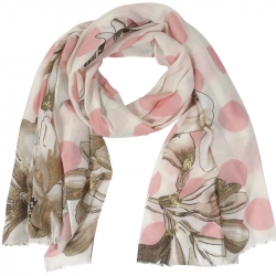 Scarf Dots Flowers 90x180cm Pink