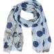 Sjaal Stippen Bloemen 90x180cm Blauw