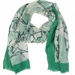 Scarf Stripes Flowers 90x180cm Green