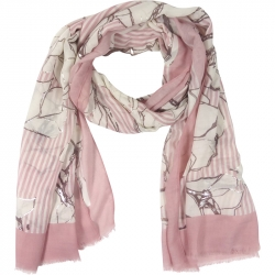 Scarf Stripes Flowers 90x180cm Pink