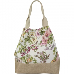 Beach Bag Flowers White