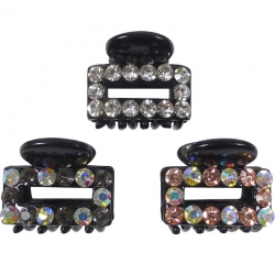 Claw clip 2.1cm black rectangle rhinestones