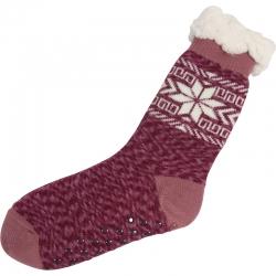 Huissokken Sneeuwvlok Melange Oud Roze/Burgundy