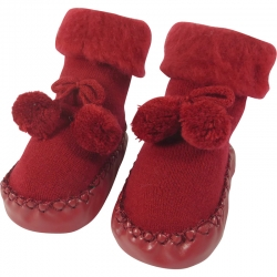 Baby Shoes Pompoms Red