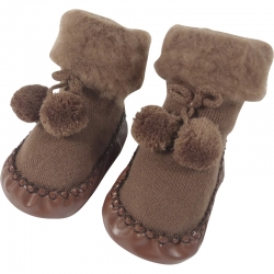Baby Shoes Pompoms Brown