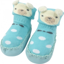 Baby Shoes Bear Dots Blue