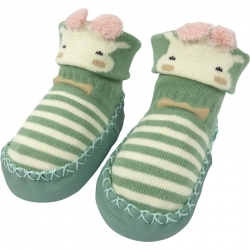 Baby Shoes Cow Stripes Green
