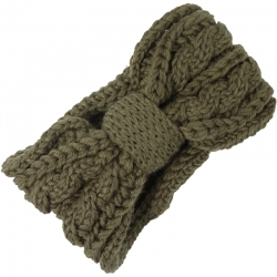 Headband Knitted Cable Pattern Dark Taupe