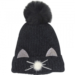 Pompom Hat Cat Ears Black