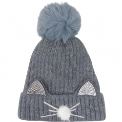 Pompom Hat Cat Ears Grey