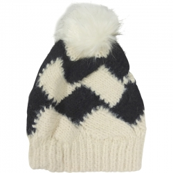 Pompom Hat Two-Tone Ivory/Black