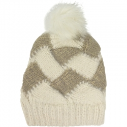 Pompom Hat Two-Tone Ivory/Taupe