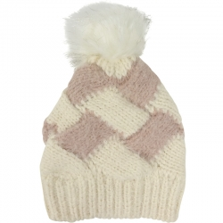 Pompom Hat Two-Tone Ivory/Pink