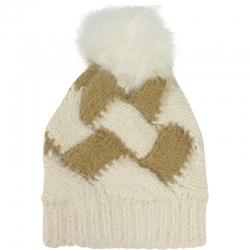 Pompom Hat Two-Tone Ivory/Brown