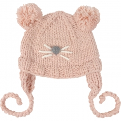 Children's Hat Mouse Knitted Pompoms Pink