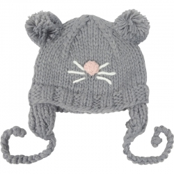 Children's Hat Mouse Knitted Pompoms Grey